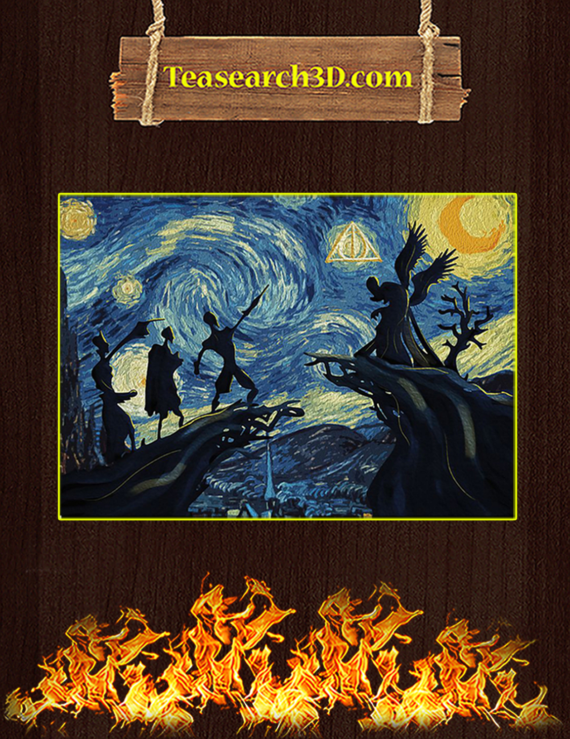 Starry night van gogh deathly hallows harry potter poster A3