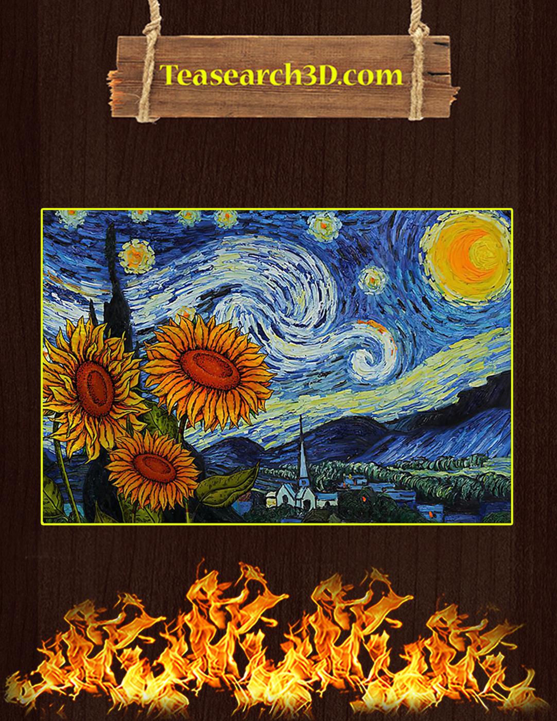 Sunflowers starry night van gogh canvas prints medium