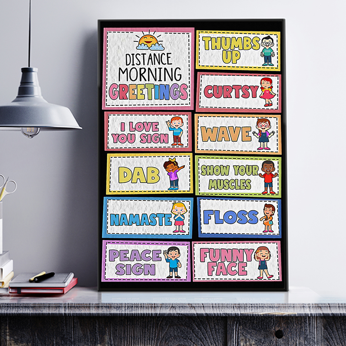 Teacher distance morning greetings poster A3