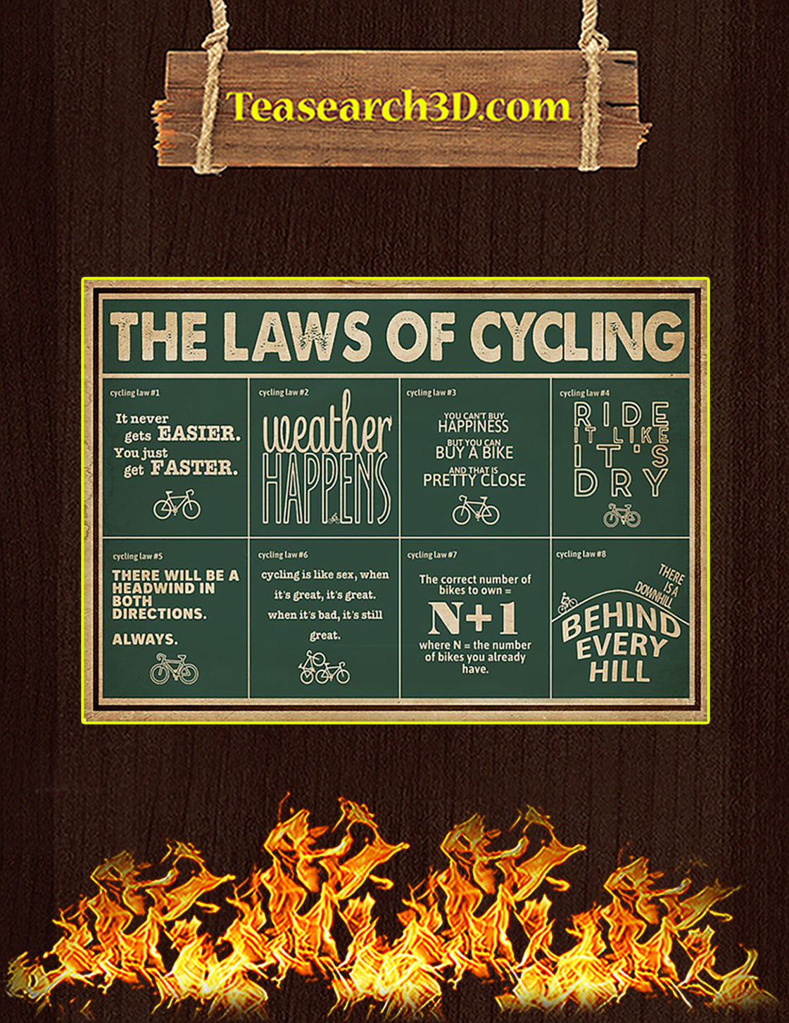 The laws of cycling poster A3