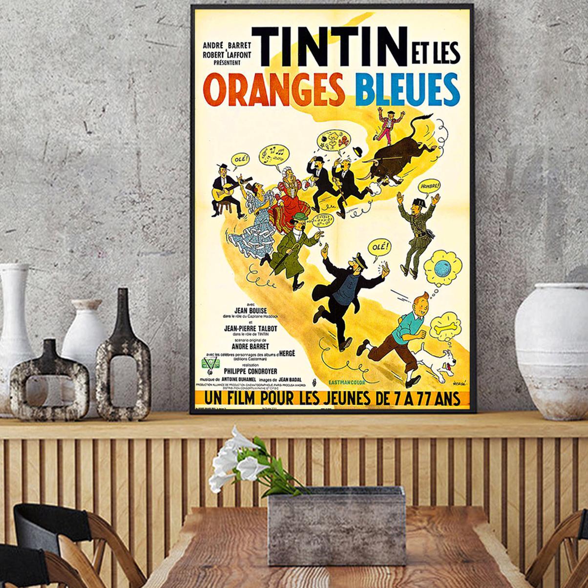 Tintin et les oranges bleues affiche A1