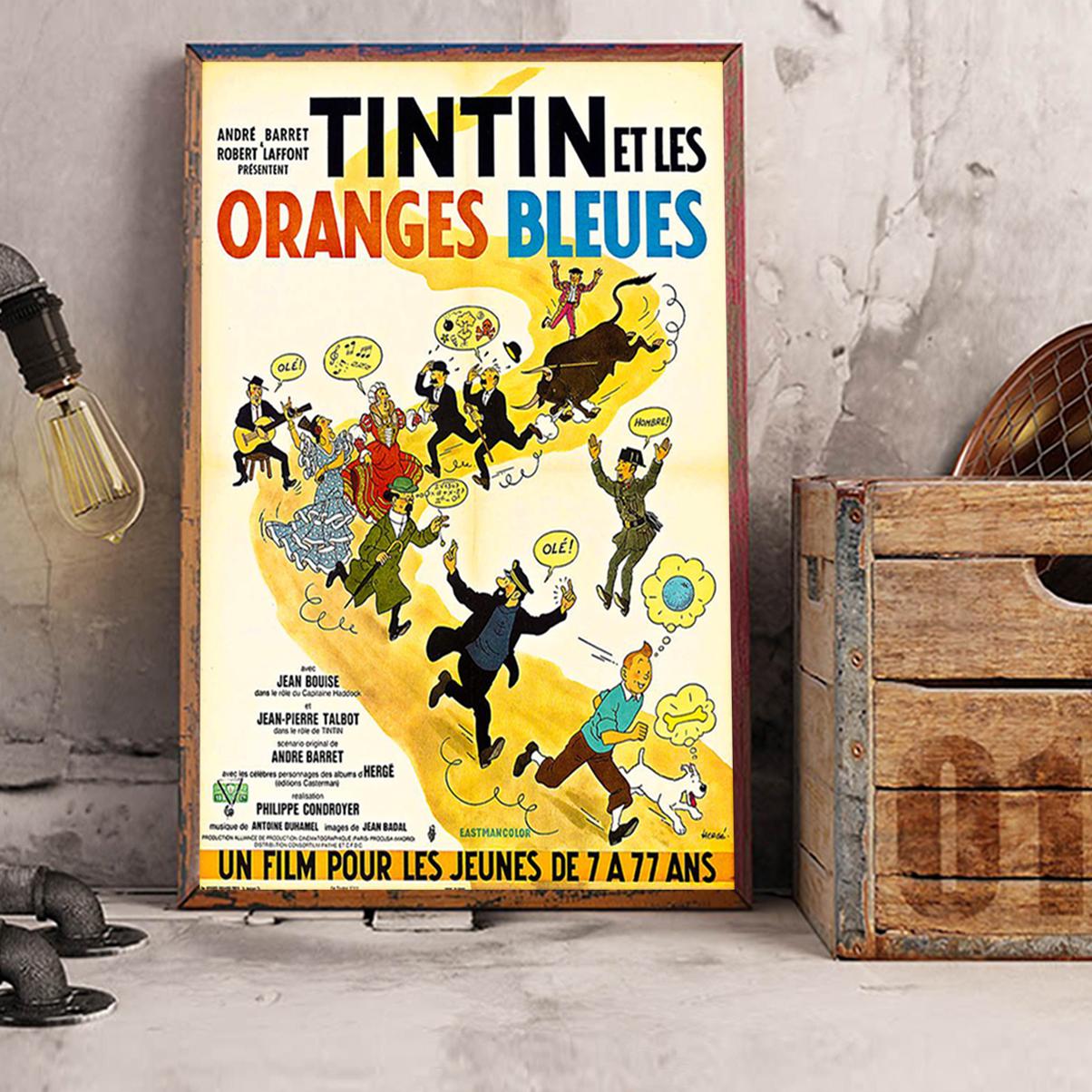 Tintin et les oranges bleues affiche A3