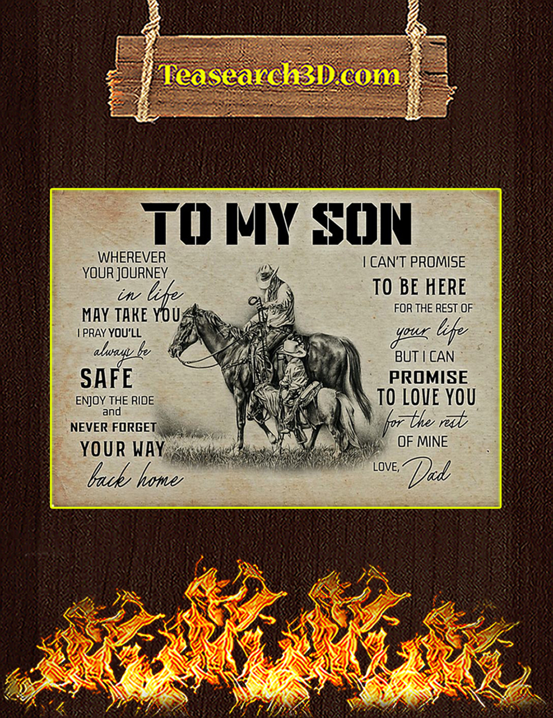 To my son horse dad poster A3