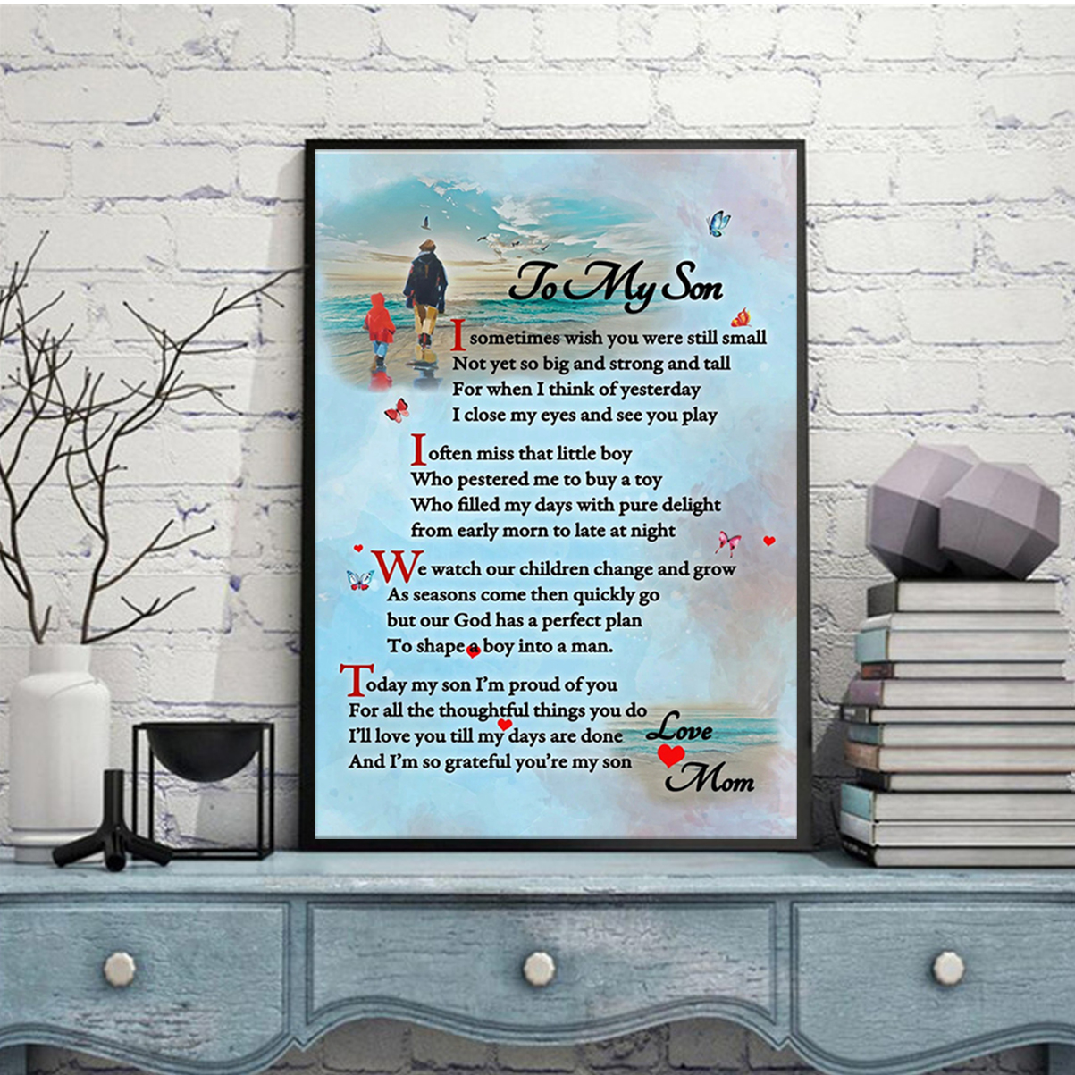 To my son mom canvas prints and poster A2