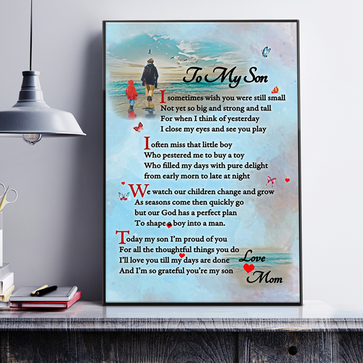 To my son mom canvas prints and poster A3