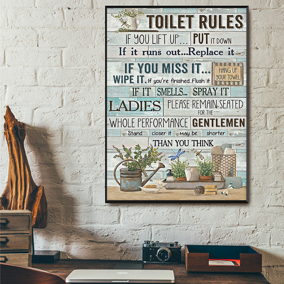 Toilet rules if you lift up put it down poster A1