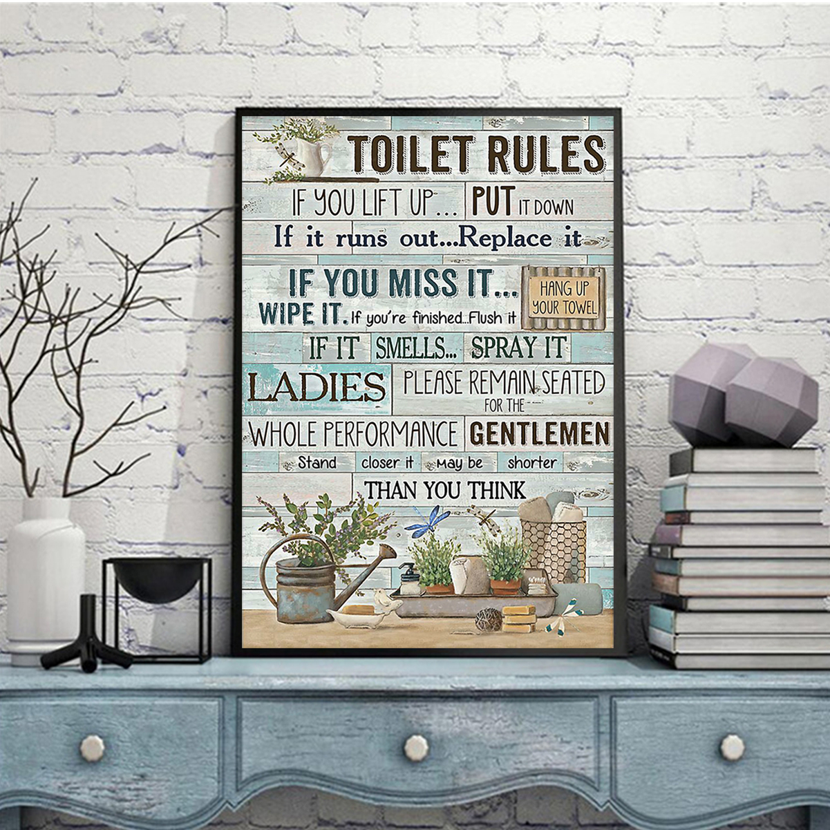 Toilet rules if you lift up put it down poster A2