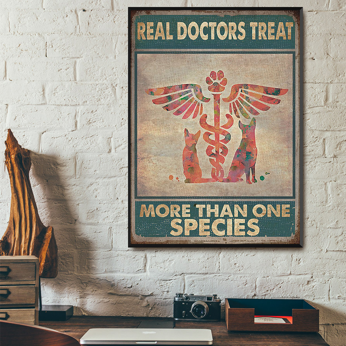 Veterinarian real doctors treat more than one species poster A1