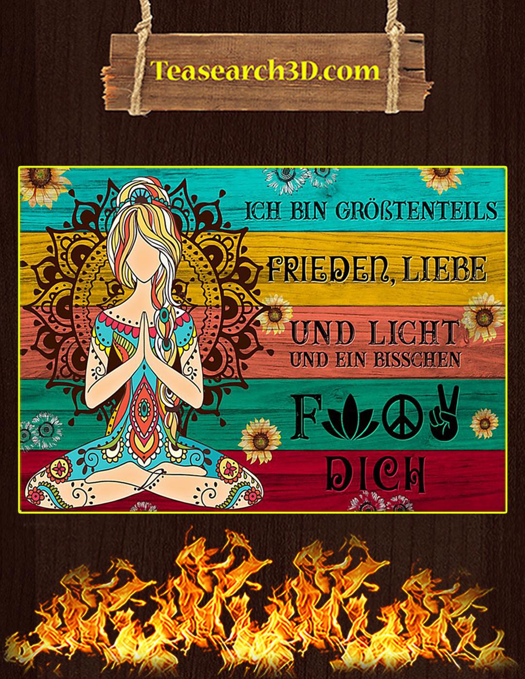Yoga Je suis principalement amour de la paix et lumière affiche A1