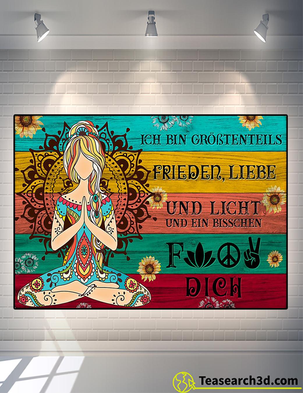 Yoga Je suis principalement amour de la paix et lumière affiche A2