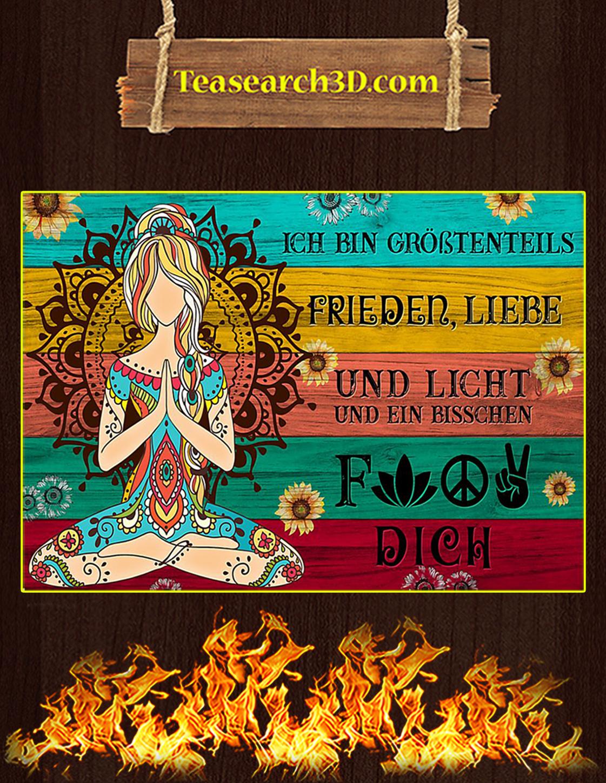 Yoga Je suis principalement amour de la paix et lumière affiche A3