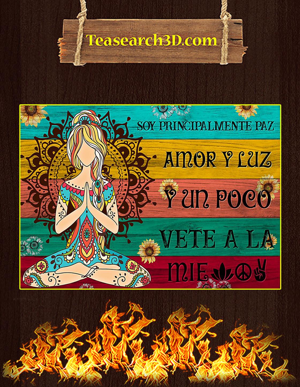 Yoga soy principalmente paz amor y luz póster A3