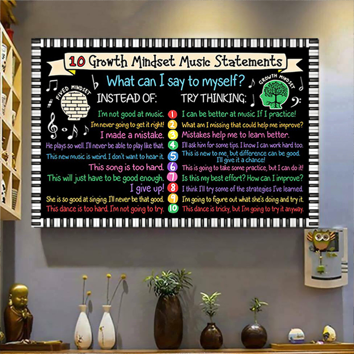 10 growth mindset music statements poster A1