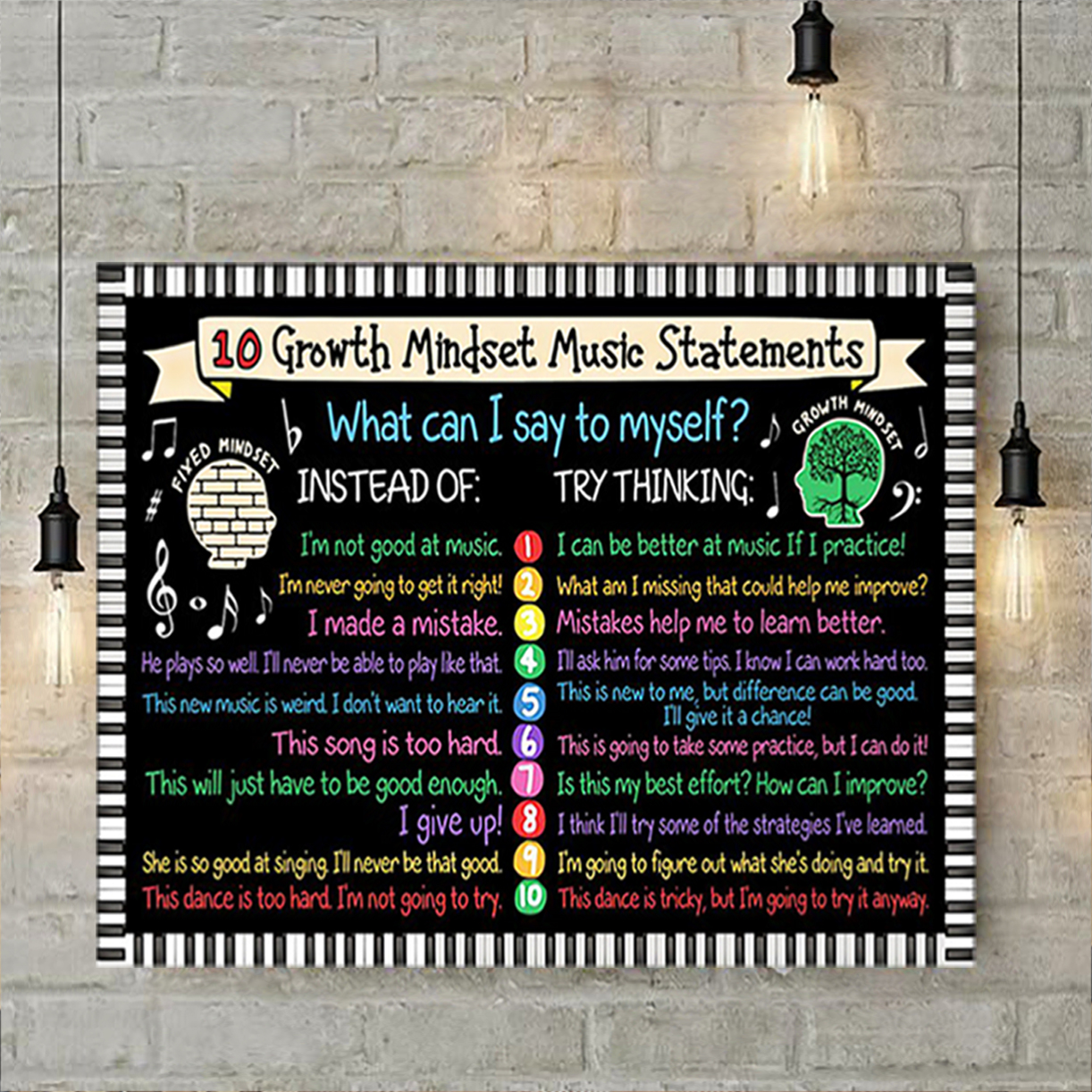 10 growth mindset music statements poster A3