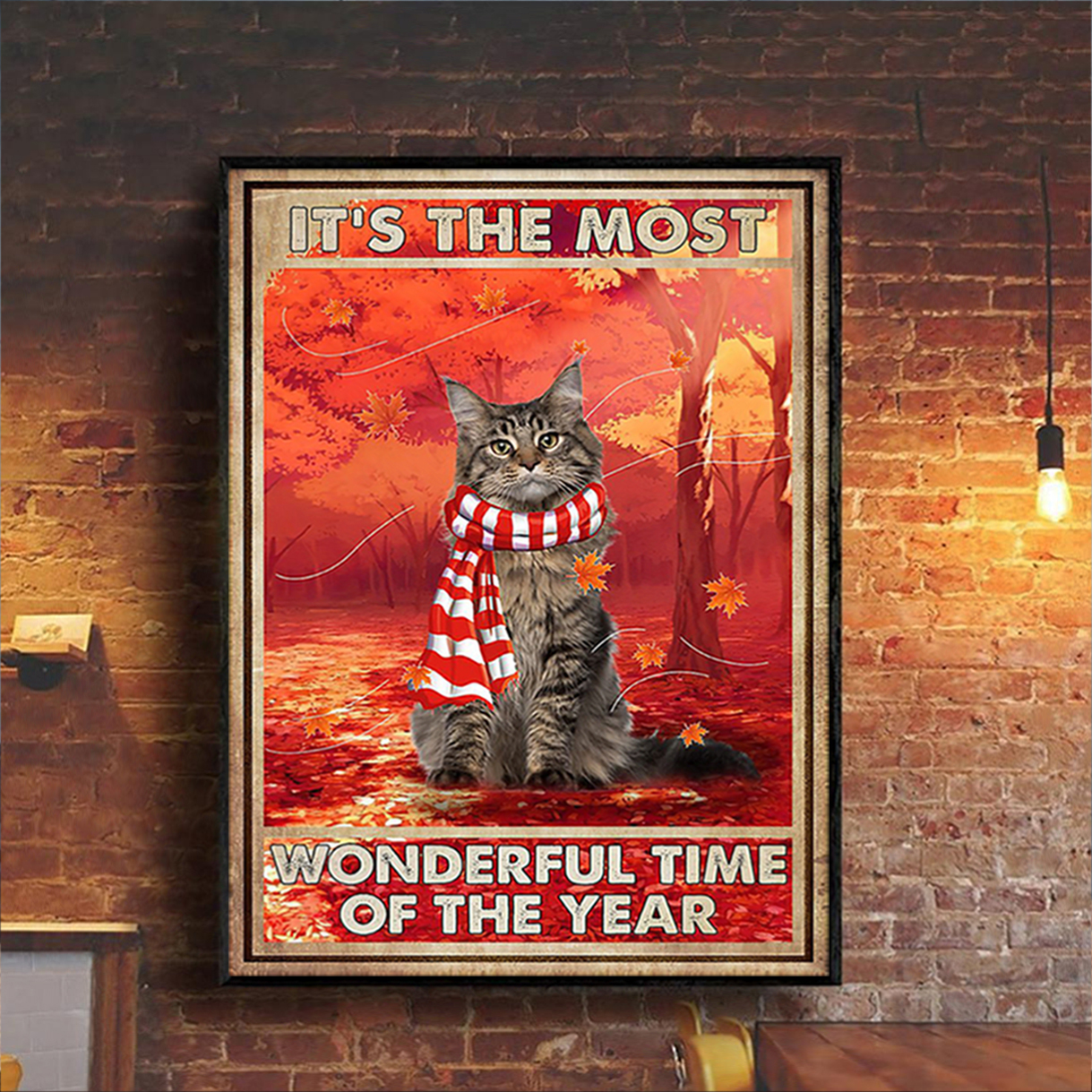 Autumn cat it's the most wonderful time of the year poster A1