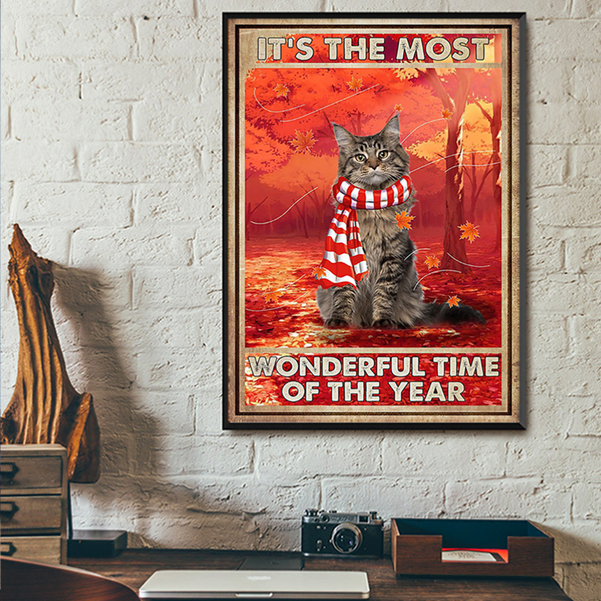 Autumn cat it's the most wonderful time of the year poster A2