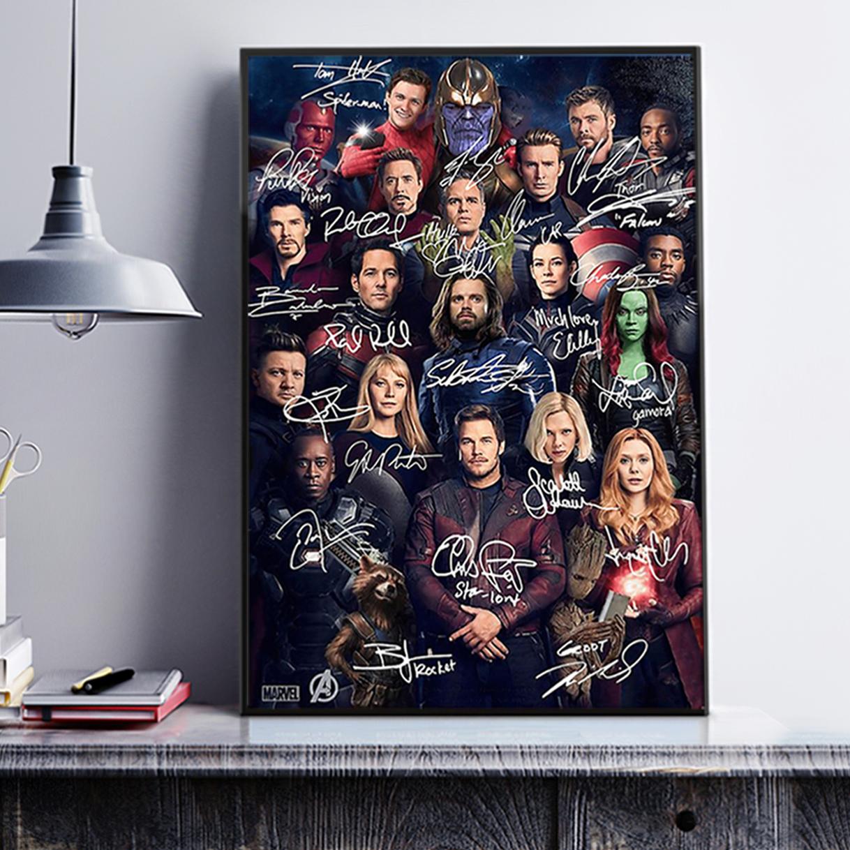 Avengers all actors signature poster A3
