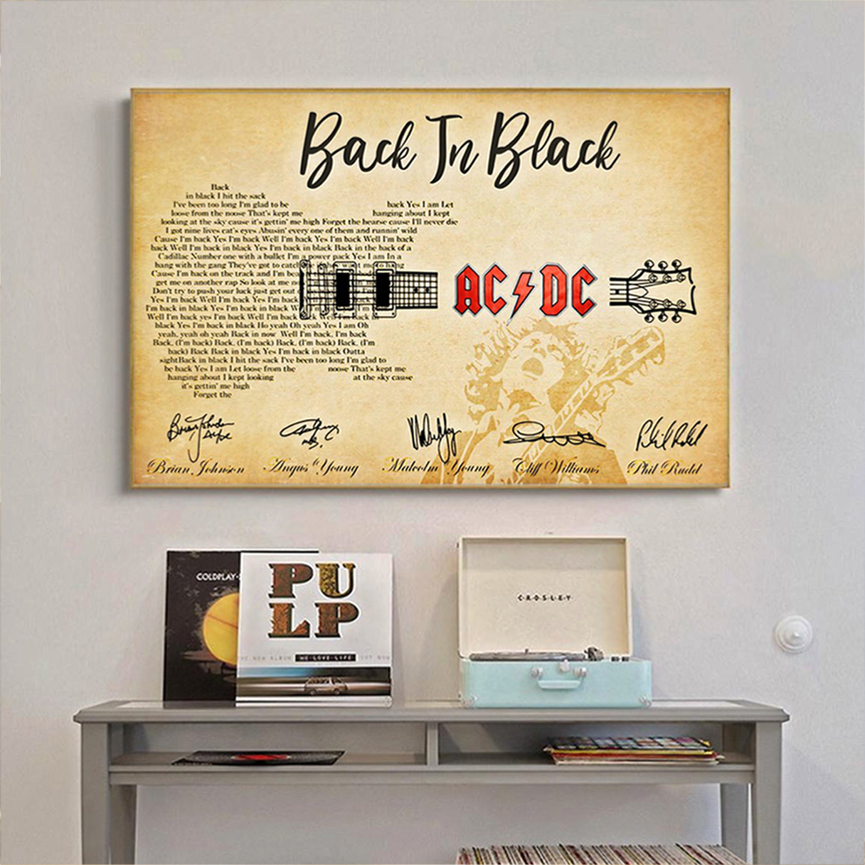 Back in black AC DC guitar poster A1