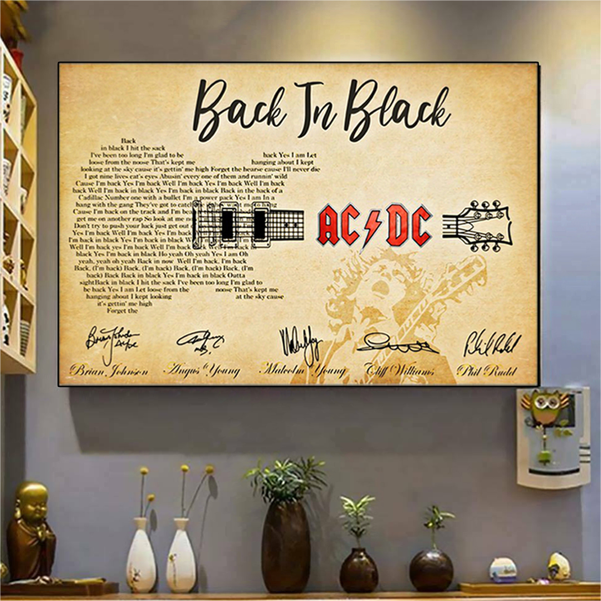 Back in black AC DC guitar poster A3