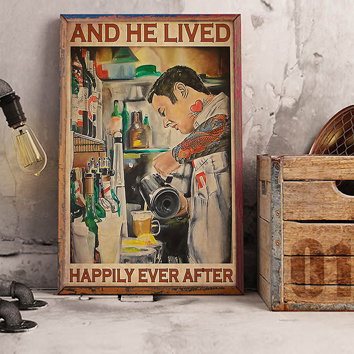 Bartender and he lived happily ever after poster A3
