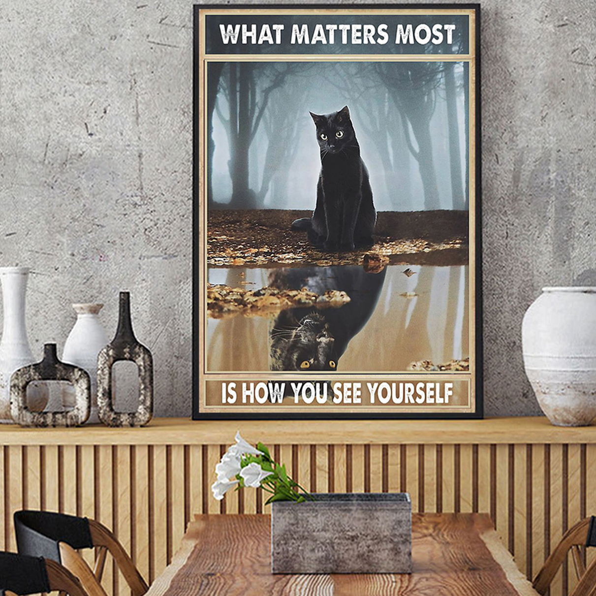 Black cat what matters most is how you see yourself poster A1