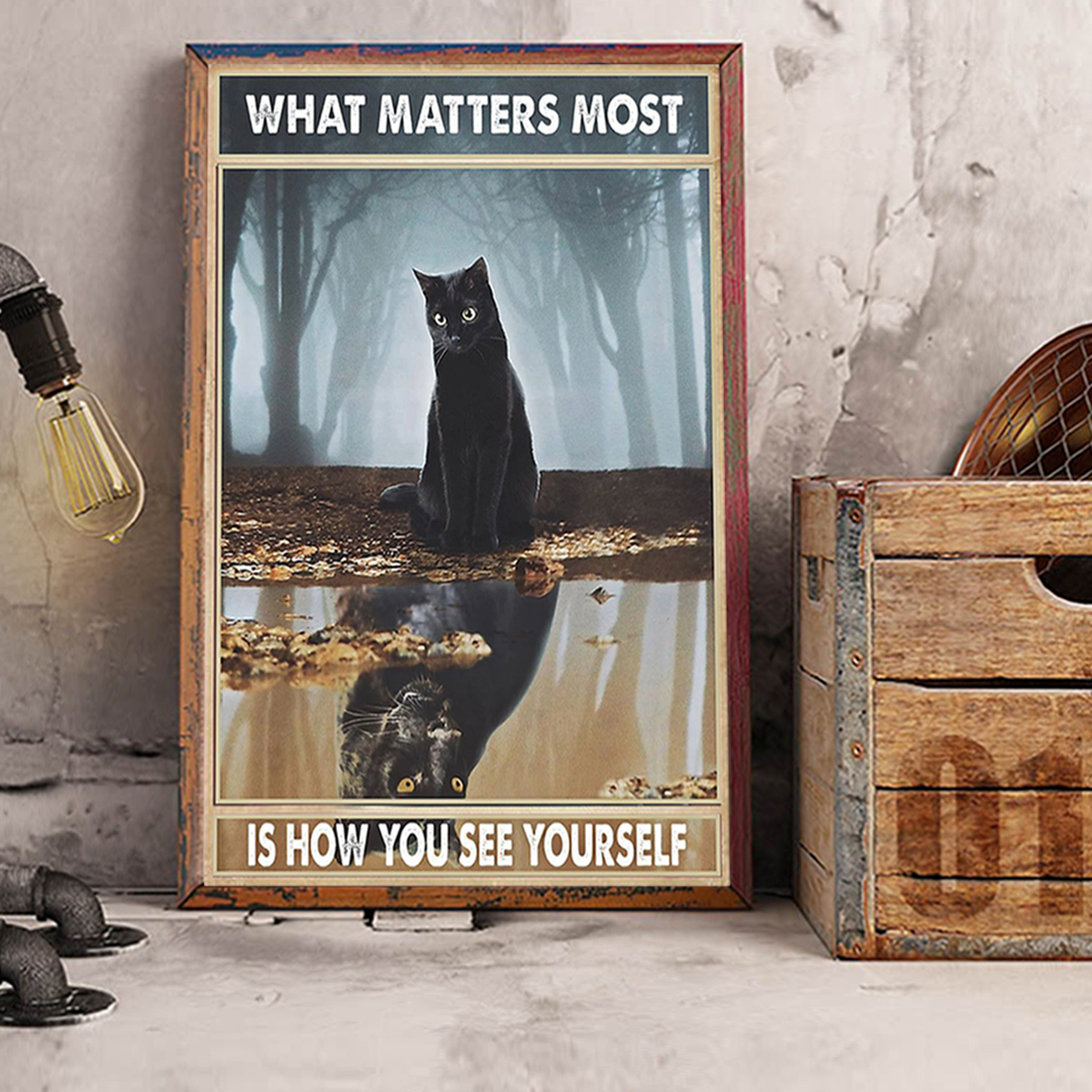 Black cat what matters most is how you see yourself poster A3