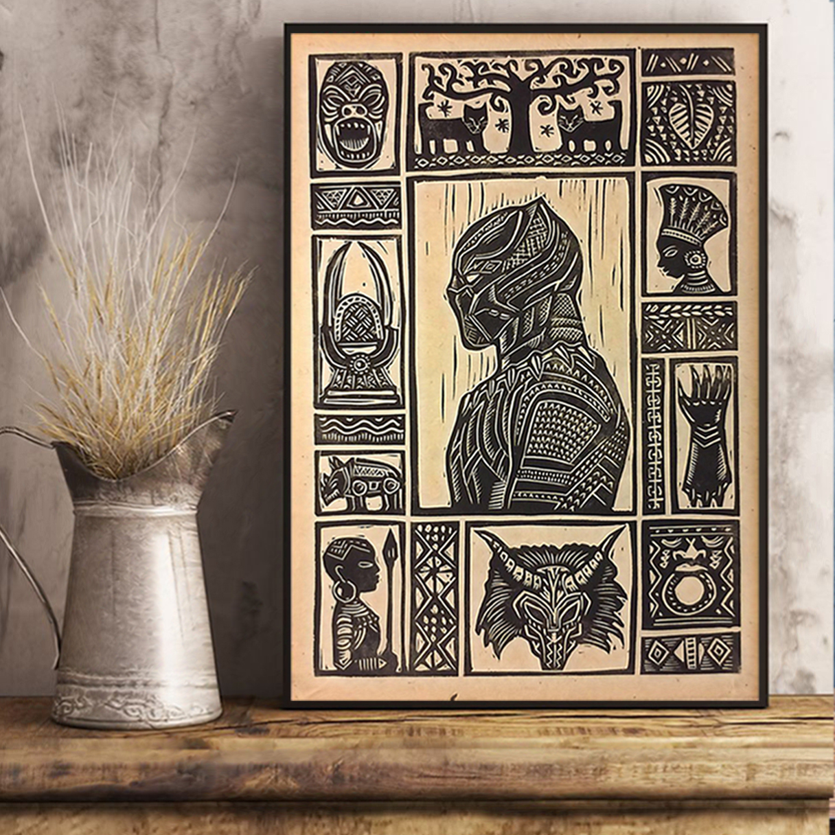 Black panther block print poster A1
