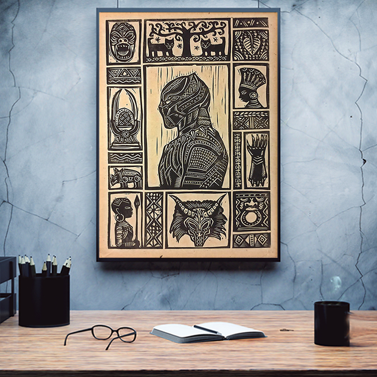 Black panther block print poster A2