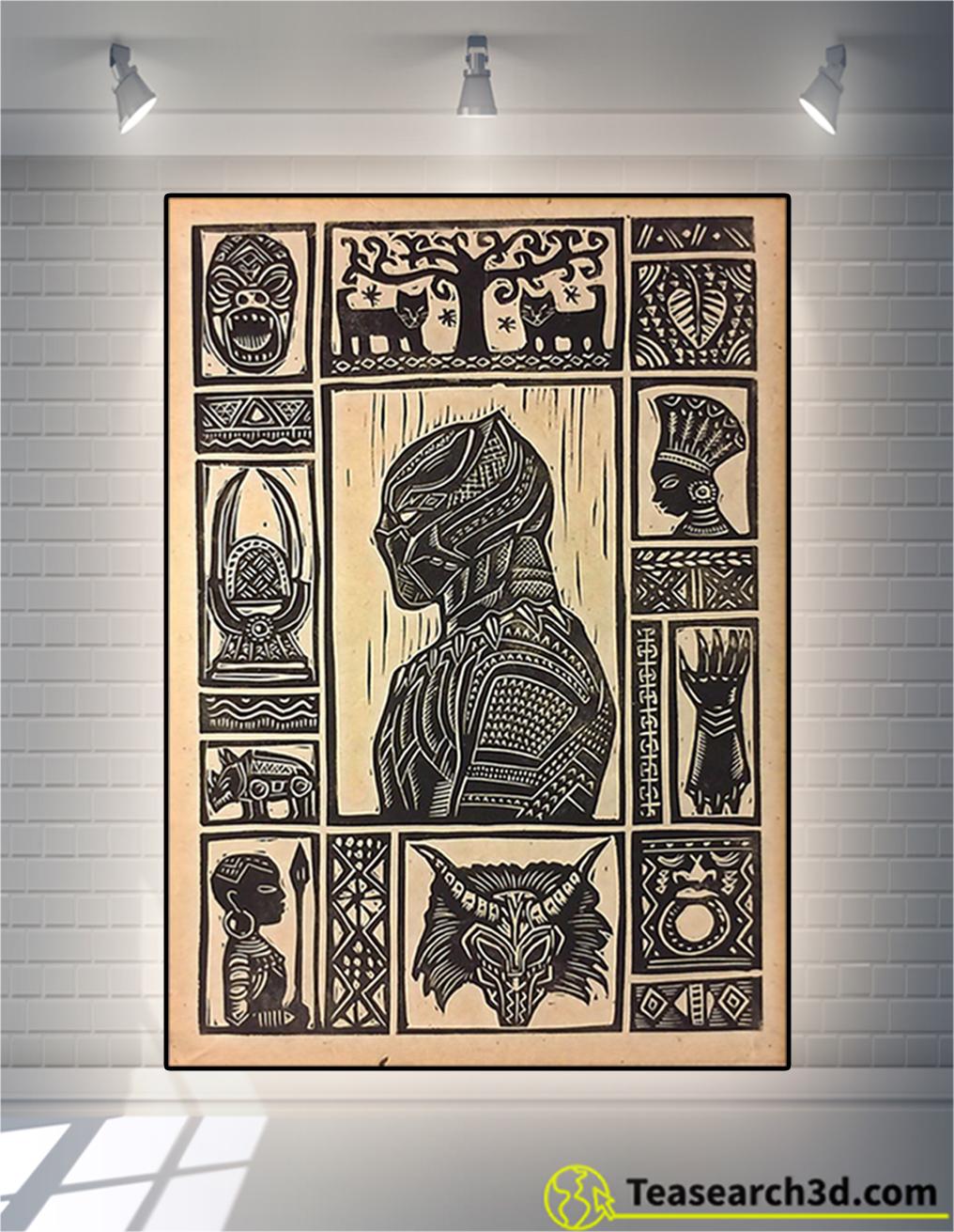 Black panther block print poster