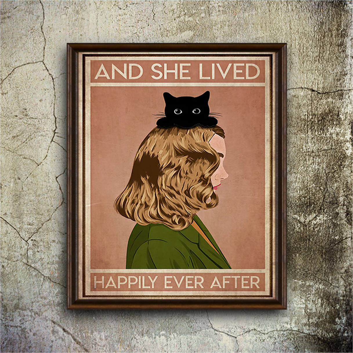 Blonde girl cat and she lived happily ever after poster A1