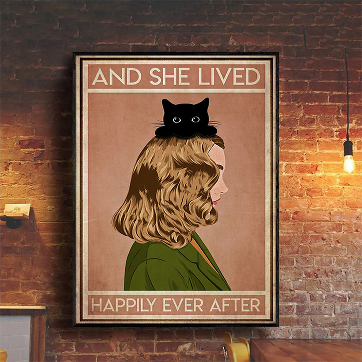 Blonde girl cat and she lived happily ever after poster A2