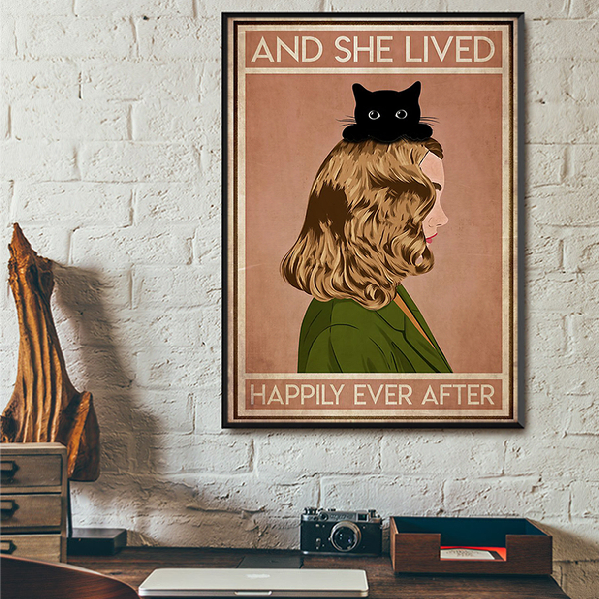 Blonde girl cat and she lived happily ever after poster A3