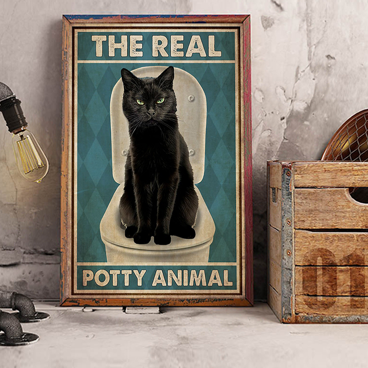 Cat The real potty animal poster A1