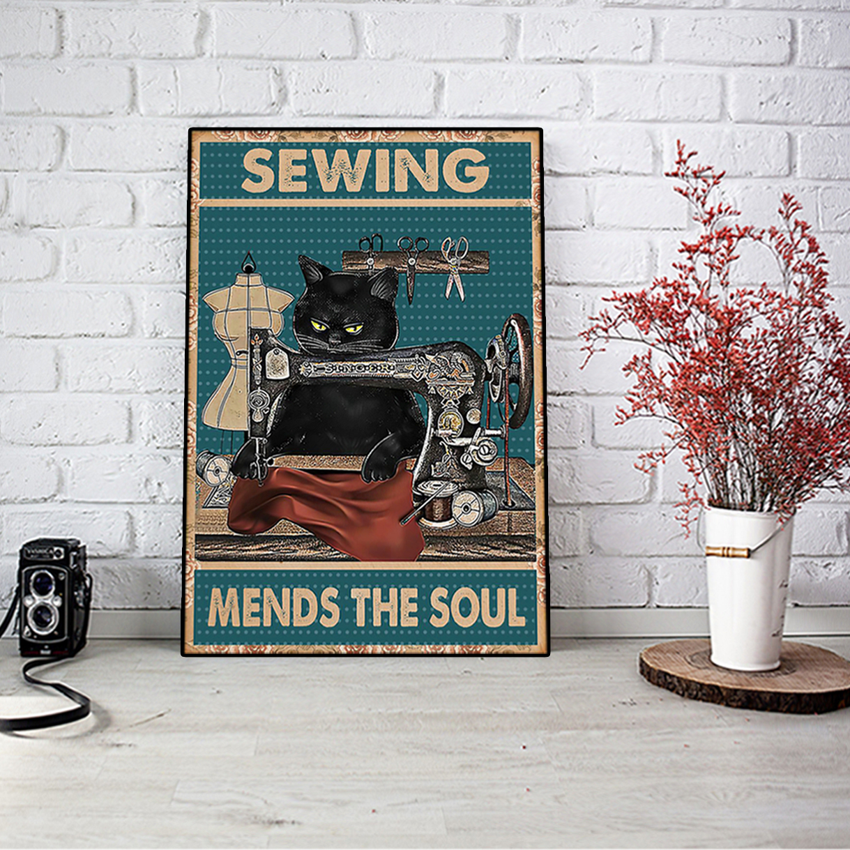 Cat sewing mends the soul poster A1