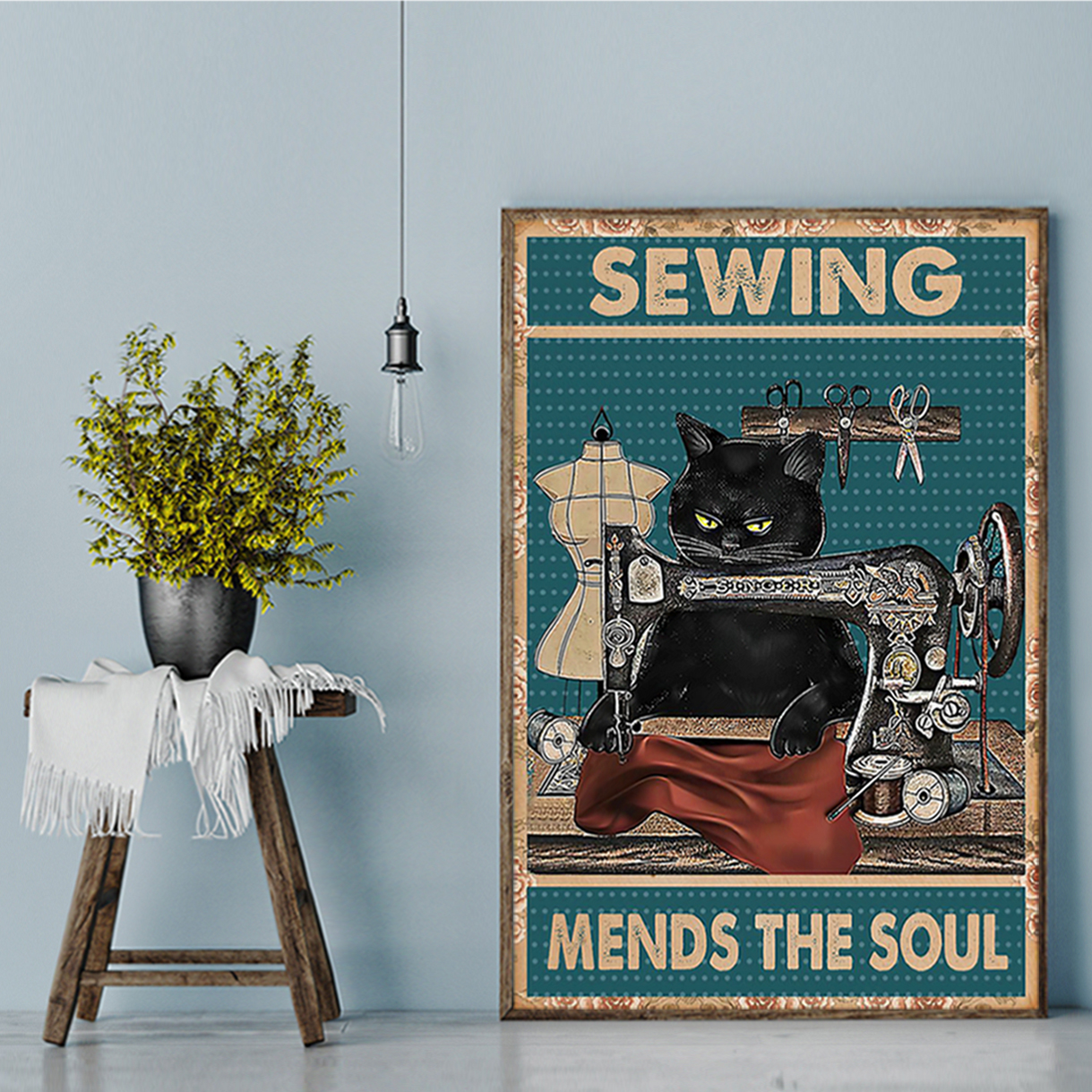 Cat sewing mends the soul poster A2