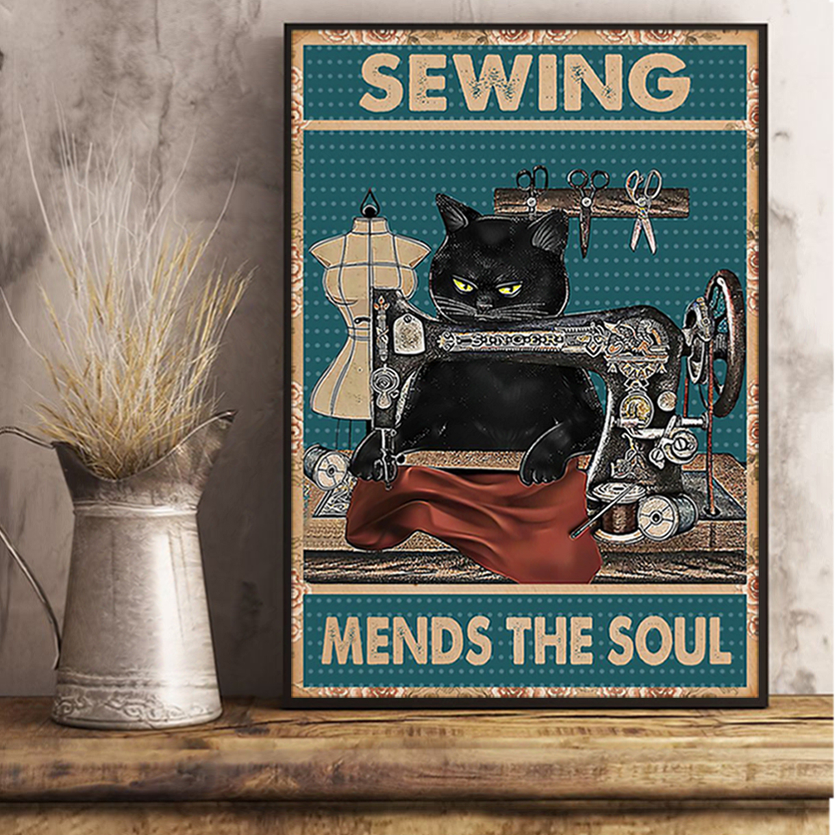 Cat sewing mends the soul poster A3