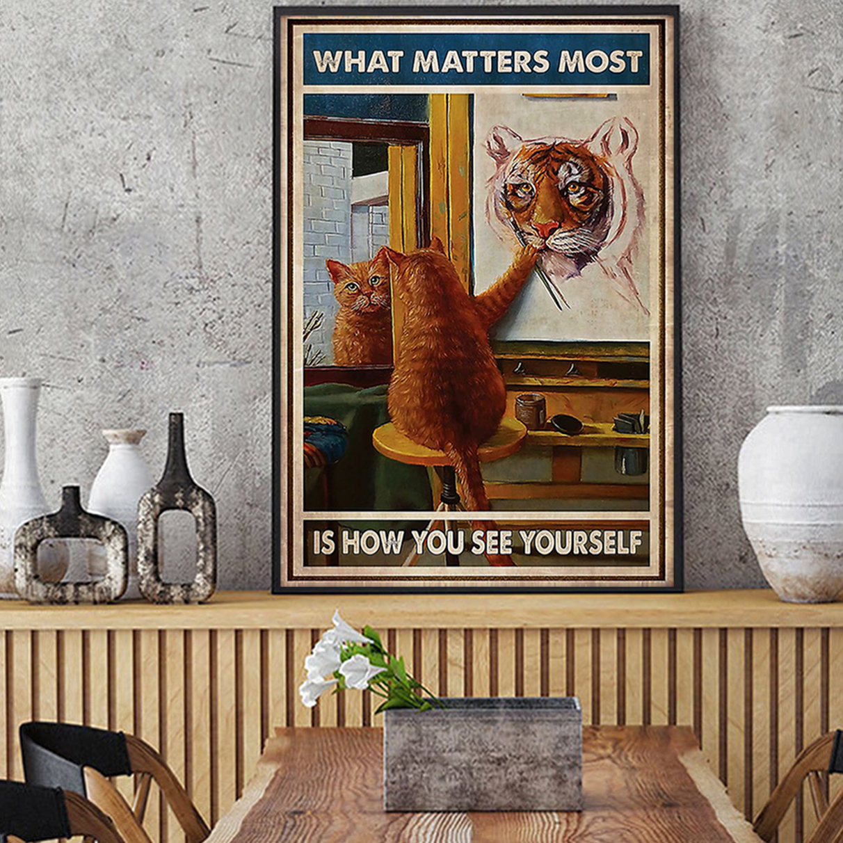 Cat what matters most is how you see yourself poster A1