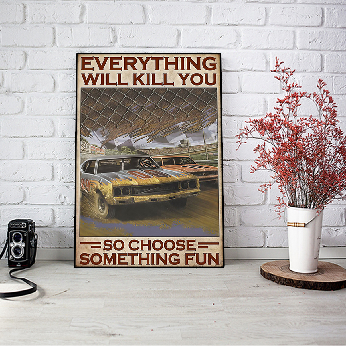 Choose something fun dirt track poster A1