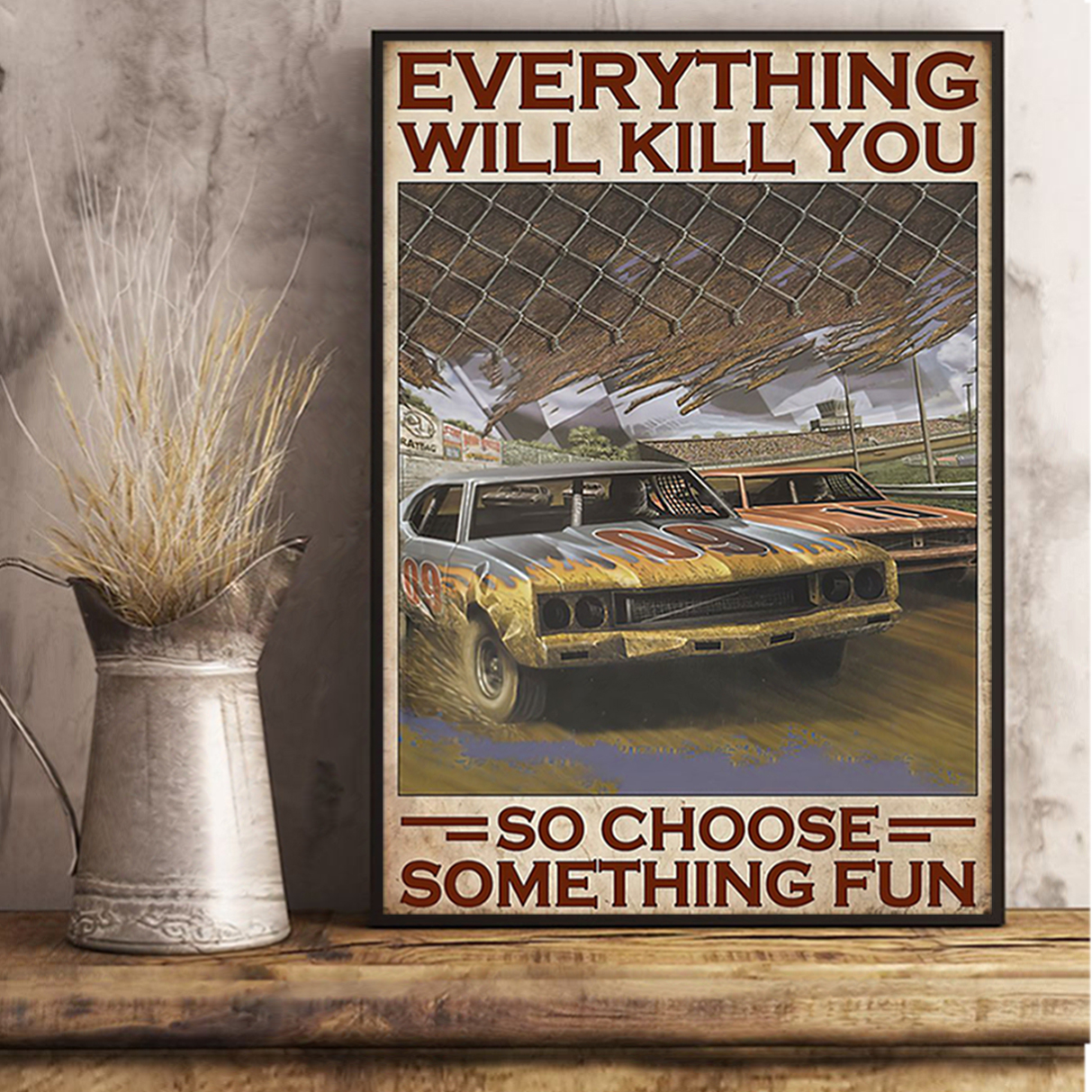Choose something fun dirt track poster A3