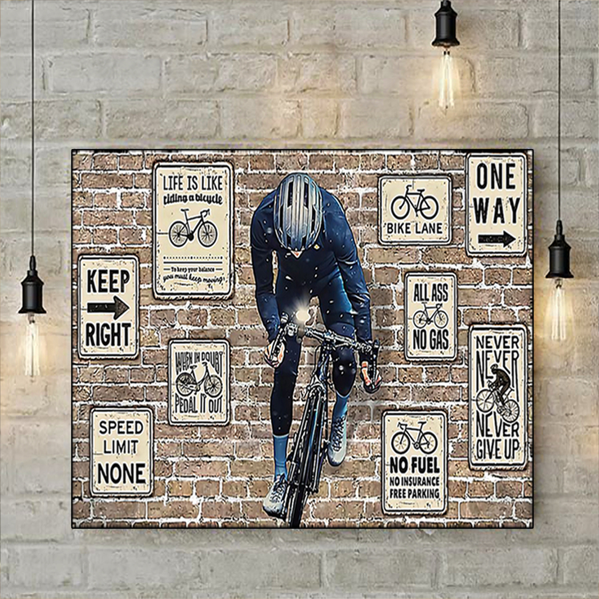 Cycling keep right one way poster A2