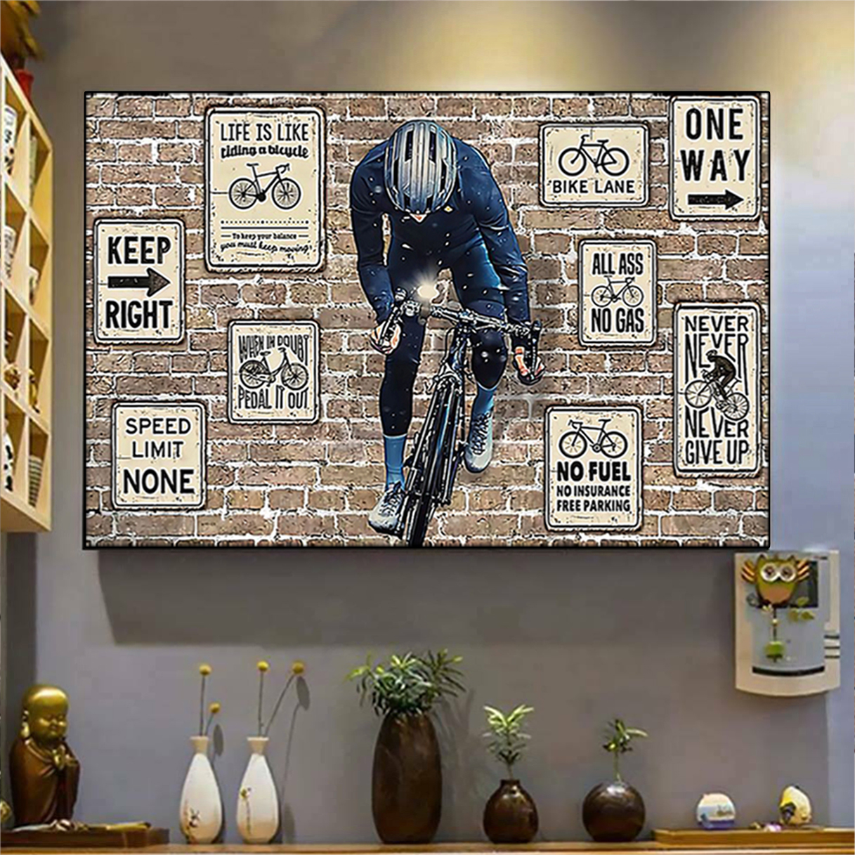 Cycling keep right one way poster A3
