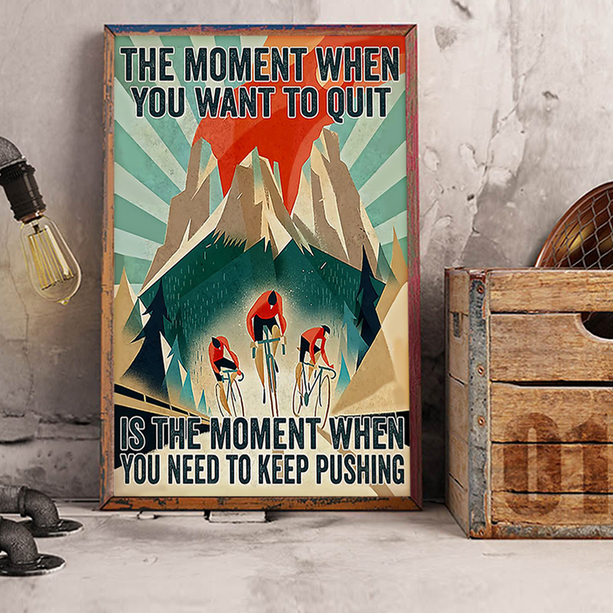 Cycling the moment when you want to quit poster A3