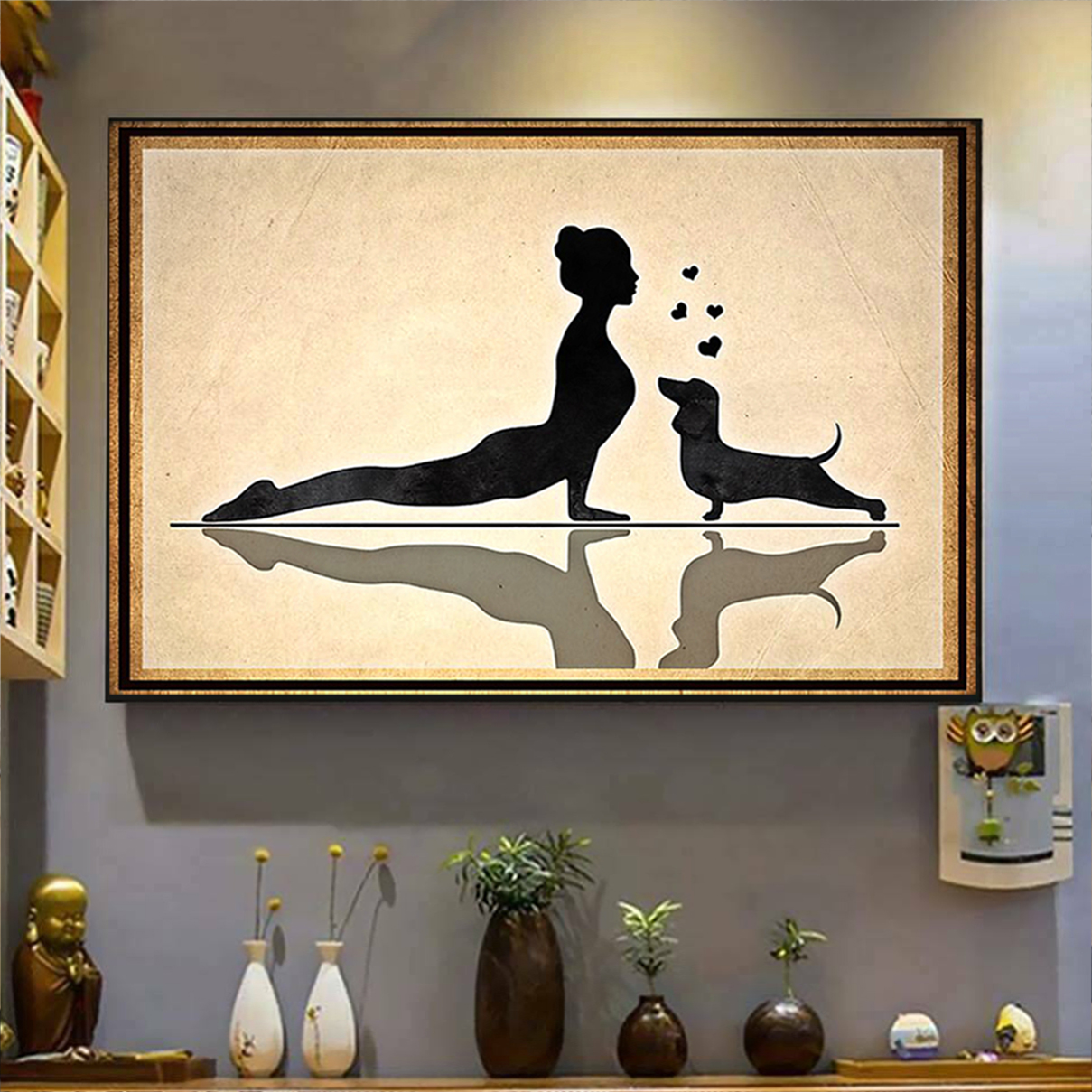 Dachshund and yoga poster A2
