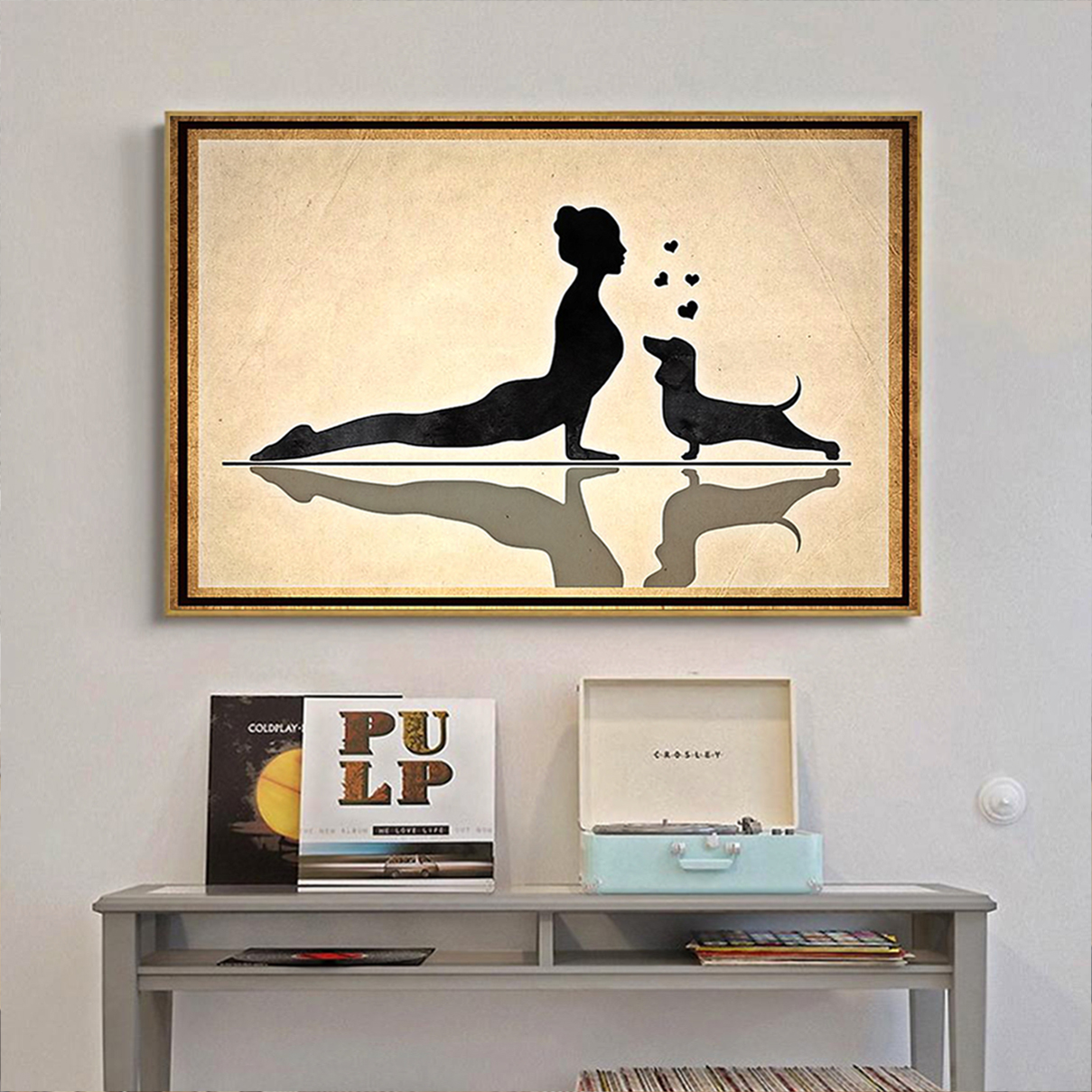 Dachshund and yoga poster A3