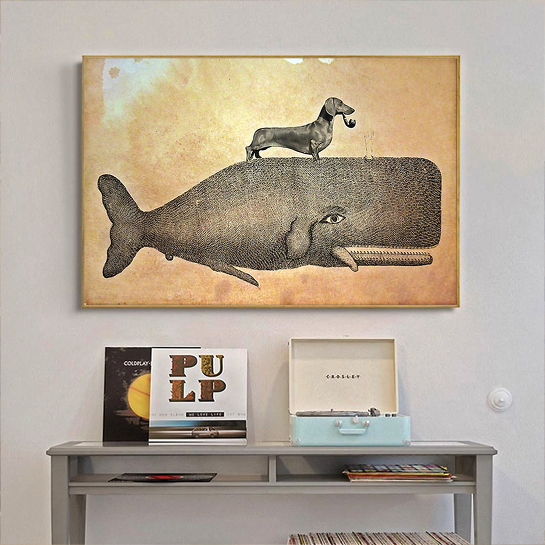 Dachshund riding whale poster A1