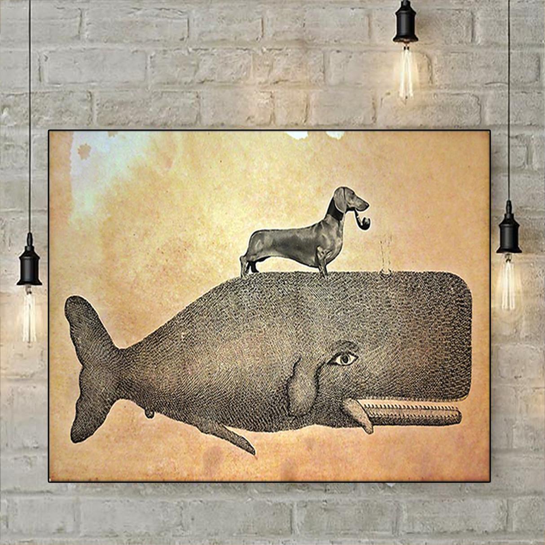 Dachshund riding whale poster A2
