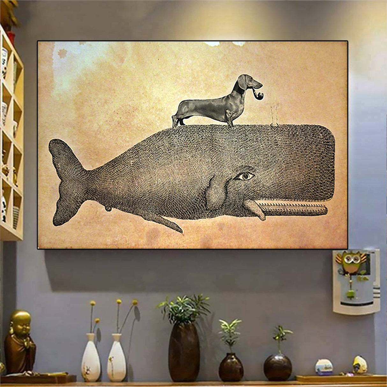 Dachshund riding whale poster A3
