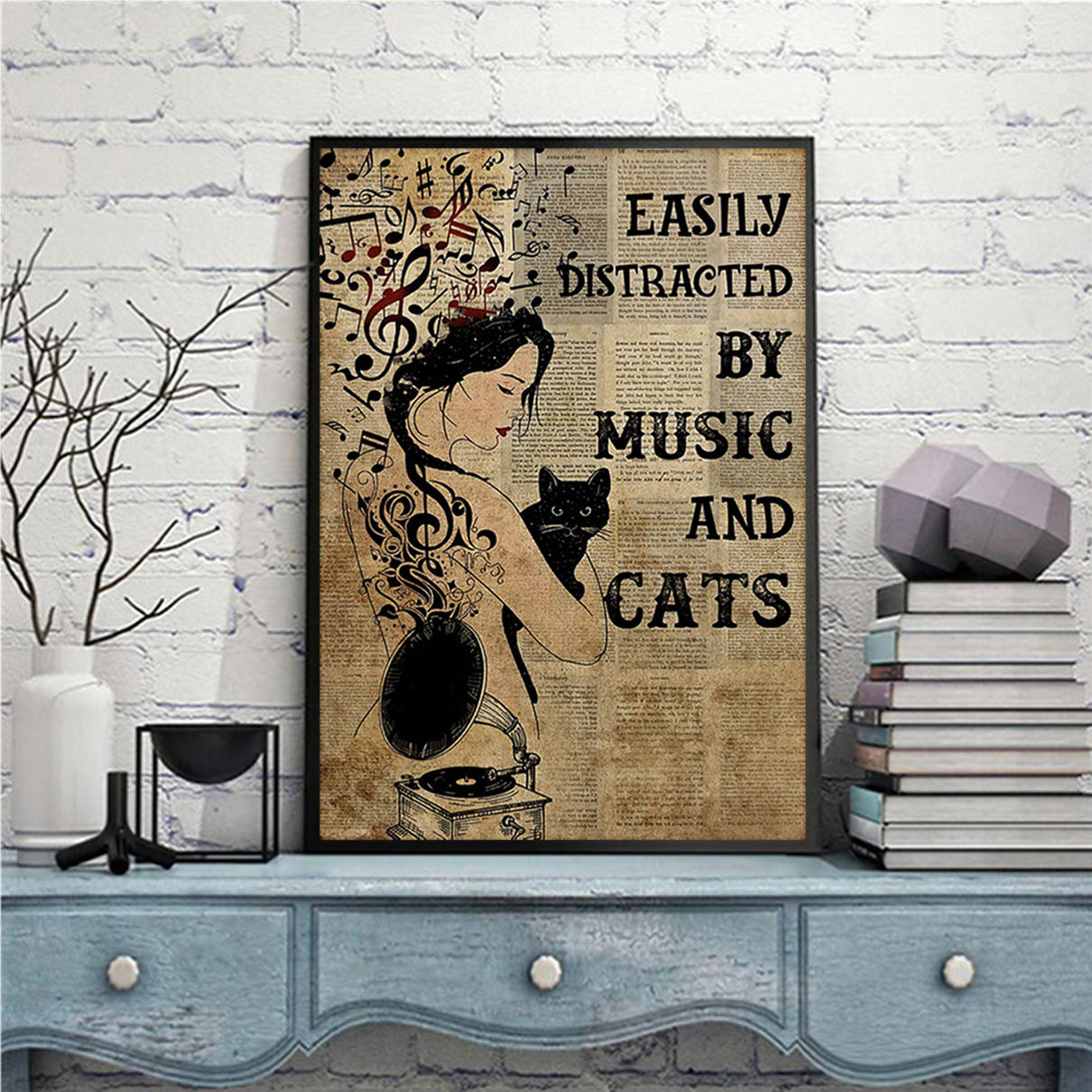 Easily distracted by music and cats poster A3