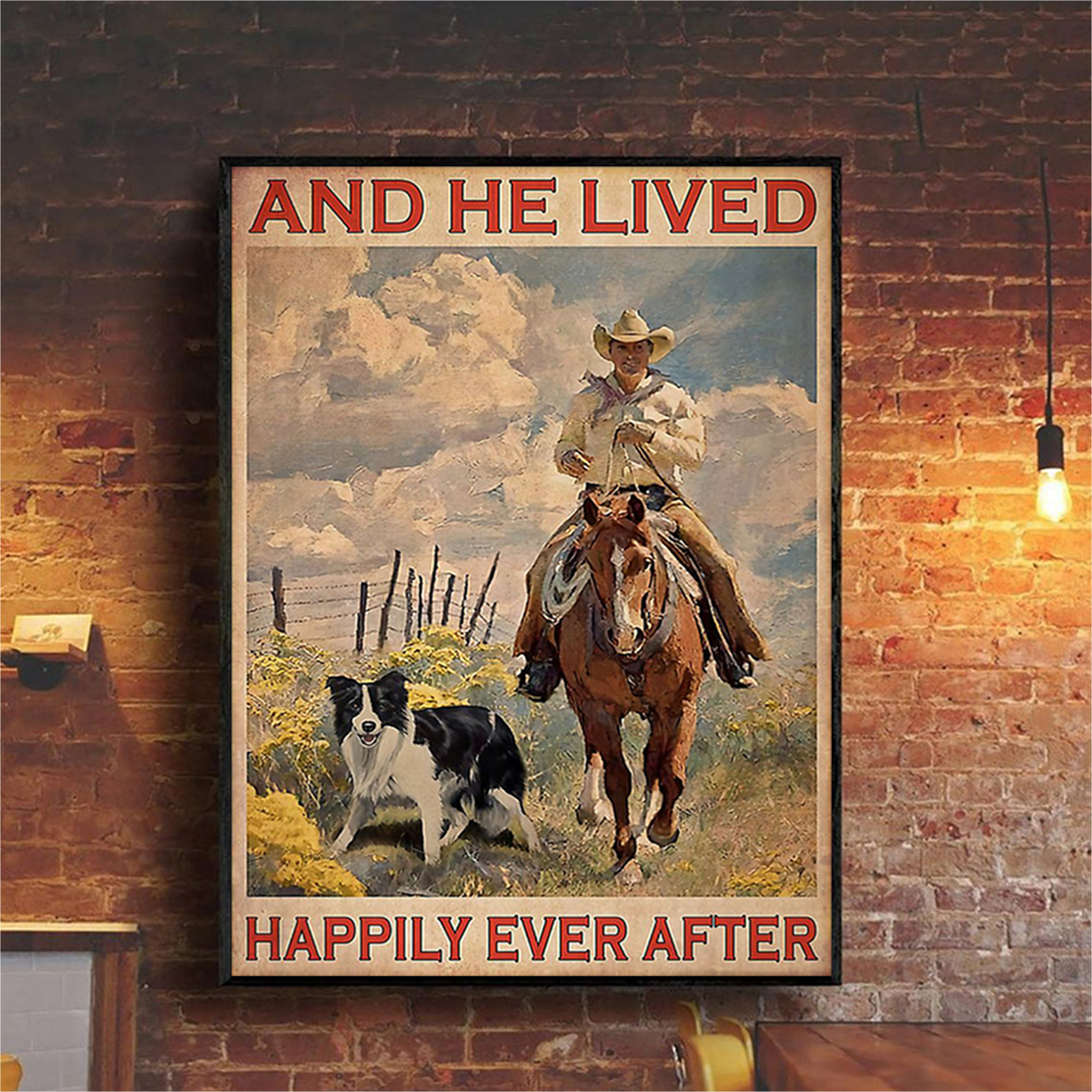 Farmer horse dog and he lived happily ever after poster A1