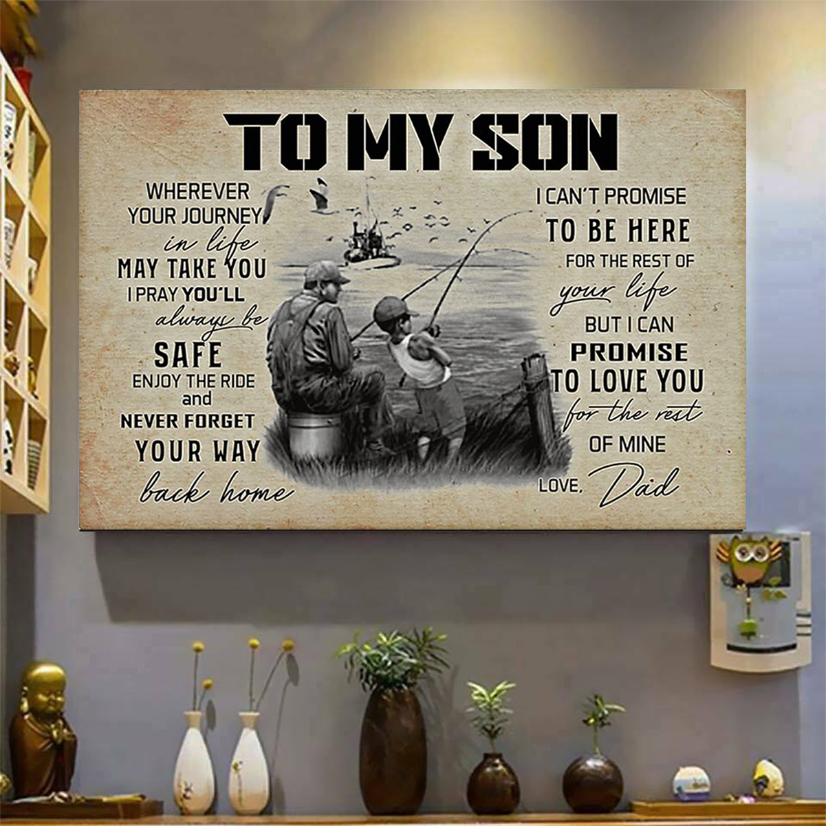 Fishing to my son love dad poster A3